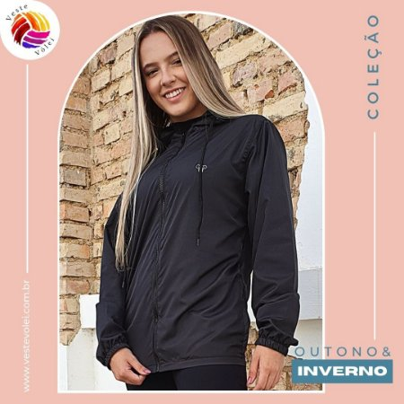 Jaqueta Feminina Corta Vento - Modelo Lisa cor Preta