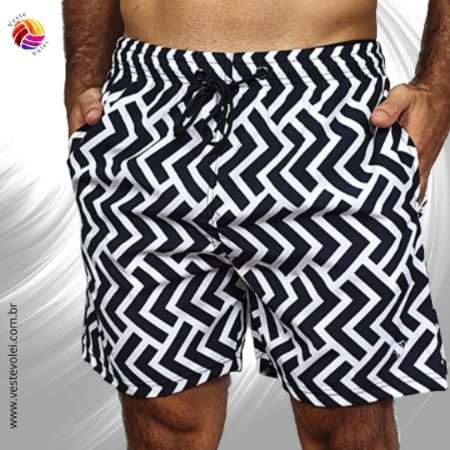 Short Masculino de Elastano Sublimado com 3 Bolsos - Modelo Hipster - cor Preta e Branca