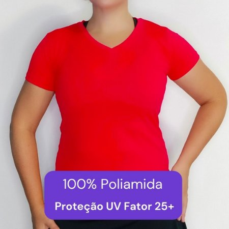 Camiseta Feminina - Modelo Lisa cor Vermelha