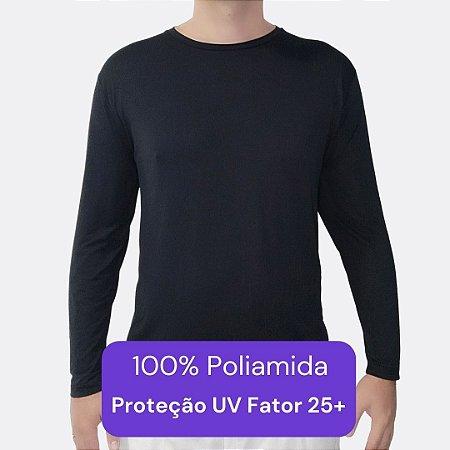 Camiseta Masculina - Modelo Manga Longa cor Preta