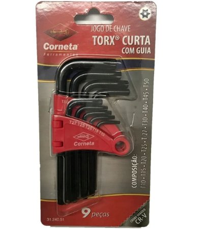 JOGO CHAVE TORX 09PCS T10 AT50 C/GUIA CURTA 3124051 CORNETA