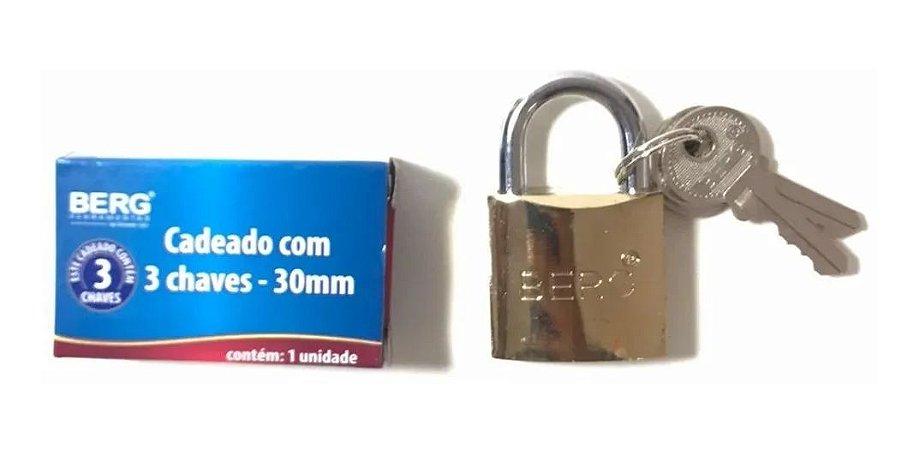 CADEADO C/3 CHAVES 30MM 6010030 BERG