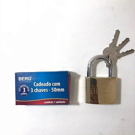 CADEADO C/3 CHAVES 50MM 6010050 BERG
