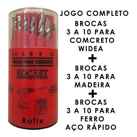 JOGO DE BROCA AÇO RAPIDO/MADEIRA/WIDEA 18 PCS 3A10 530072 ROCAST