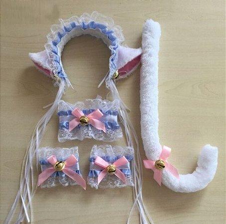 Kit Neko Lolita - 5 peças - Branco com Azul