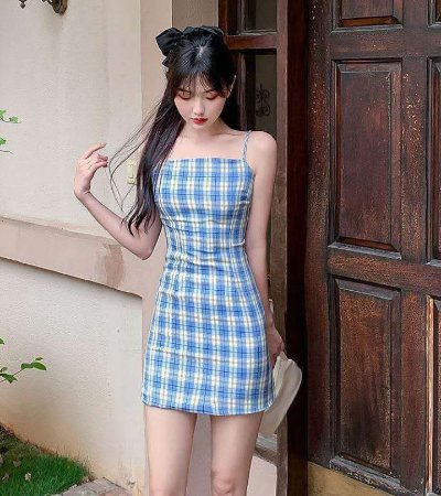 Vestido Alcinha Xadrez - Azul