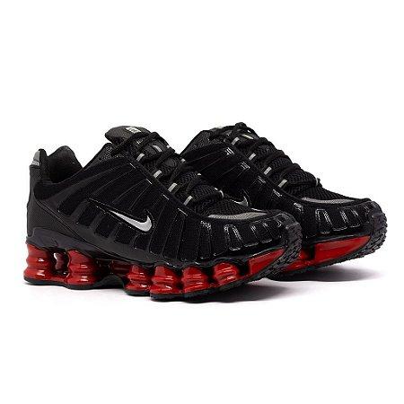 Tênis Nike Shox TLX 12 Molas Refletivo Premium Preto e Vermelho