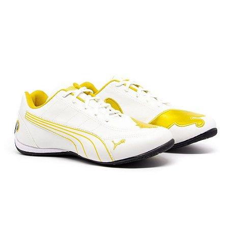 Tênis Puma Bmw Cat Branco e Amarelo
