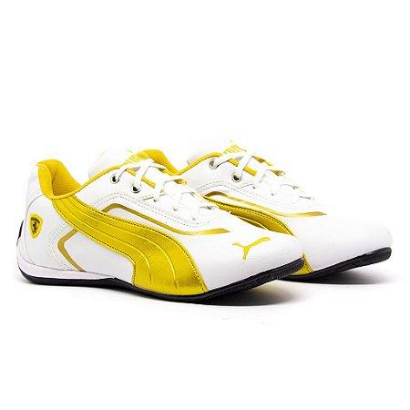 Tênis Puma Ferrari New Branco e Amarelo