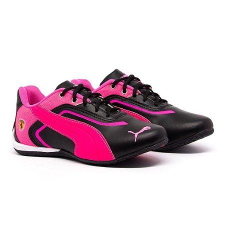 Tênis Puma Ferrari New Preto e Pink