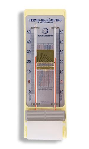 Termo-Higrômetro Analógico com Bulbo Seco e Úmido