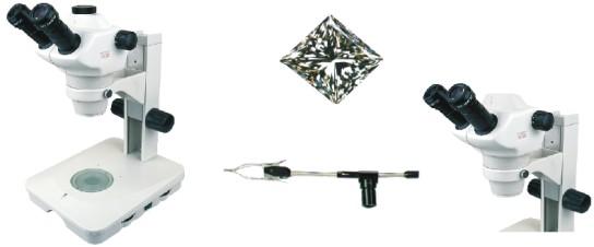 Microscópio Estereoscópico Trinocular, Zoom 0.8X ~ 5X, Aumento 8X a 200X