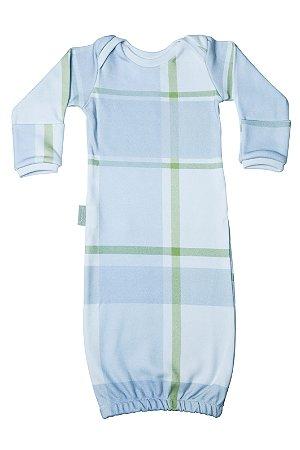 Primeiro Pijama - Manga Longa Estampado Xadrez Azul