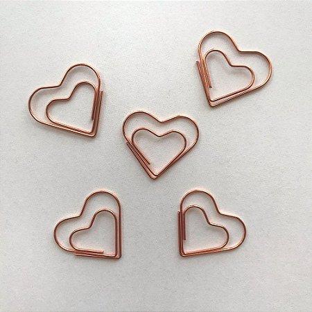 Clips Coração Rose Gold - Caixa c/ 12