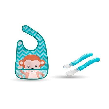 Kit Babador Animal Fun Macaco + Conjunto de colheres azul- buba