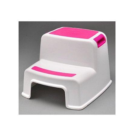 Banquinho de Banheiro 2 Degraus New Style Rosa - KaBaby