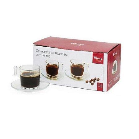 Conjunto de 6 Xícaras de Vidro 90 ml com Pires - Wincy
