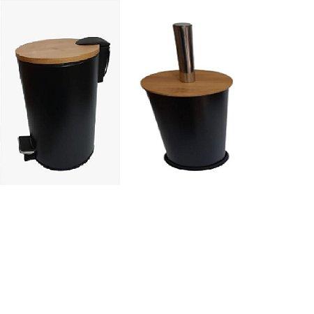 Kit Lixeira 3L Pedal C/ Escova Sanitária Preto  - Wincy