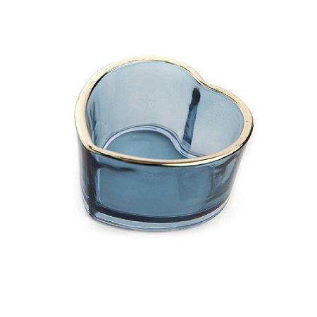 Castiçal vidro coração  Azul - Wincy