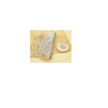 Descanso De Prato C/Desenho de Rosa Dourado C/2-FWB