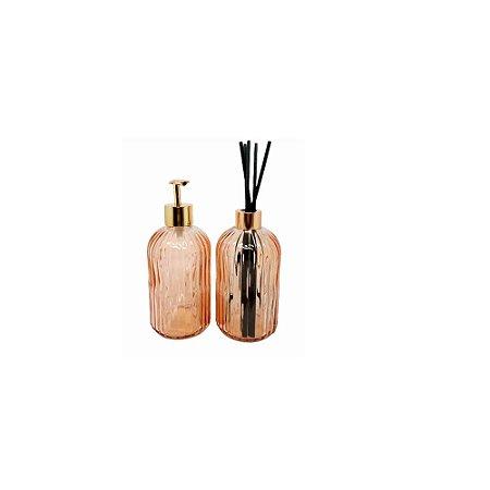 Kit C/2 Pçs de Difusor e Porta Sabonete Líquido Rose – FWB