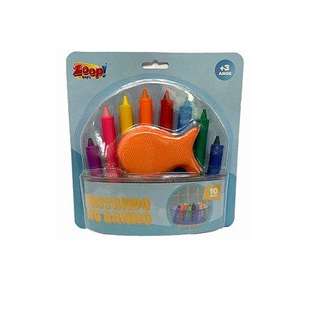 Kit C/8 Lápis de Cera Mais Espoja Para Banho - Zoop Toys