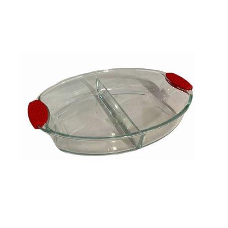 Assadeira de Vidro Borossilicato 2950ml Vermelha - Wincy