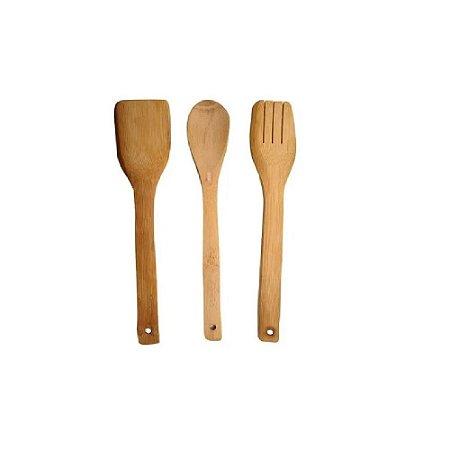 Kit De Cozinha Bambu Com 3 Peças - Interponte