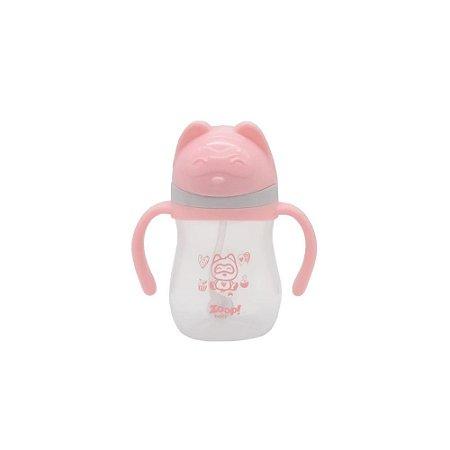 Copo de Treinamento Rosa com Alças 280ml - Zoop Baby