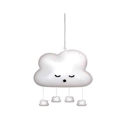 Luminária Nuvem Pendente com Mobile Natural Bebe - Decorfun