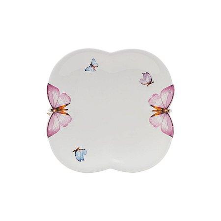 CJ 6 Pratos Sobremesa Porcelana Borboletas 19cm - Rojemac