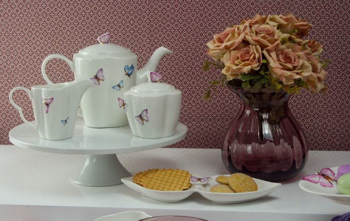 Cj 3pc porcelana p/cafe borboletas - Rojemac