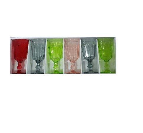 Jogo com 6 Taças de Vidro Colors 220ml - Wincy VDA03001