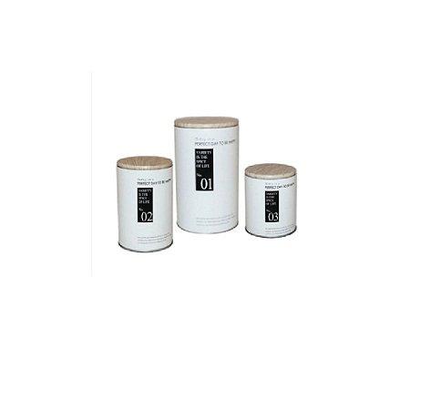Jogo com Três Potes Decorativos Happiness Branco- Wincy