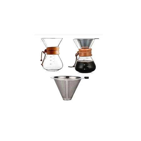 Jarra de Café c/ Filtro e Colar de Madeira 400ml - Wincy