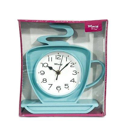 Relógio de Parede Xícara Wincy Azul Claro PDA01011