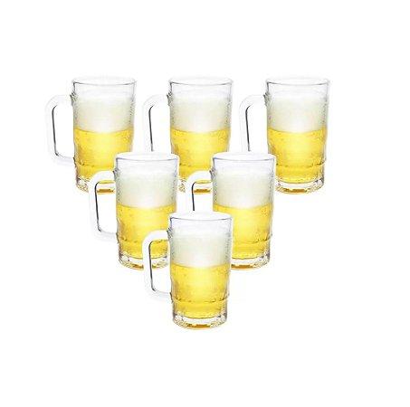 Kit 6 Canecas de Vidro Transparente 370 ml Wincy VDA09099