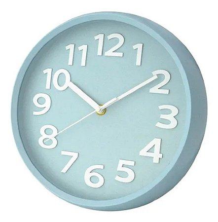 Relógio Parede Redondo Azul Wincy PDA02056