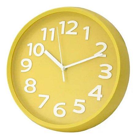 Relógio Parede Redondo Amarelo Wincy PDA02056