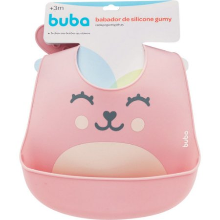 Babador de silicone com pega migalhas Gumy - rosa buba