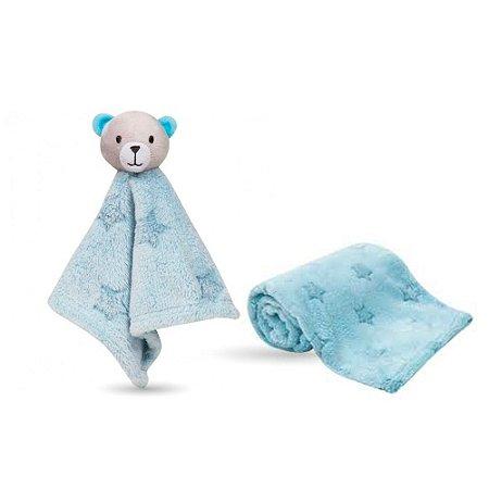 Kit Naninha ursinho estrelinha azul + Mantinha estrelinha azul - buba
