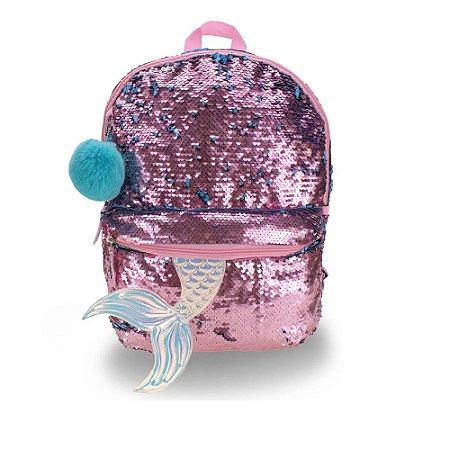 Mochila de costas juvenil sereia rosa com azul paete Clio Style
