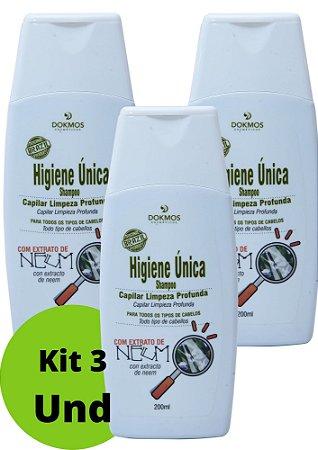 Kit 3 und Shampoo Higiene Unica Capilar 200ml