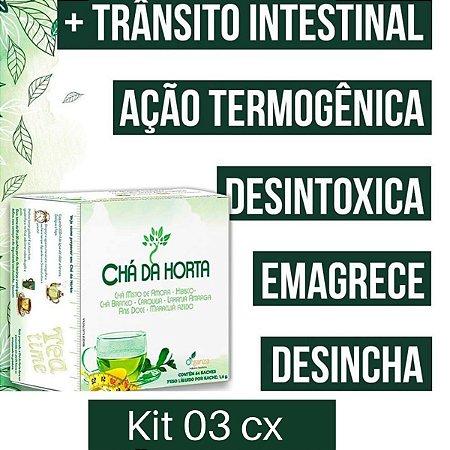 Kit 3 cx - Cha da Horta 64 Sache 102,4g - Seca Barriga