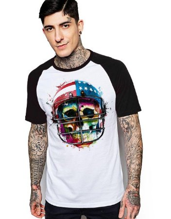 Camiseta Raglan King33 Skull Player Game