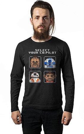 Camiseta Manga Longa  Star Wars - R2-D2 E BB-8
