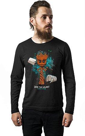 Camiseta Manga Longa Guardiões das Galaxia - Groot