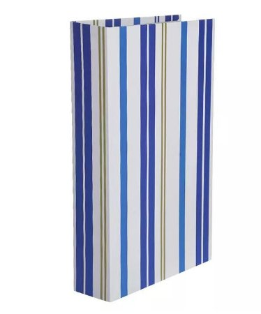 Caixa Decorativa Listrado Azul branco 27x17cm