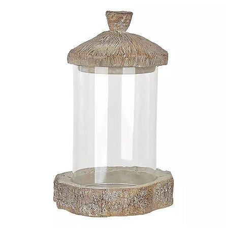 Cúpula De Vidro Com Base De Resina Marrom 22,5x14,5cm