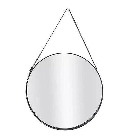 Espelho Redondo Para Pendurar Metal Preto 25x25cm